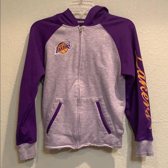 Adidas Jackets Coats Los Angeles Lakers Zipup Fleece Jacket With Hoodie Poshmark